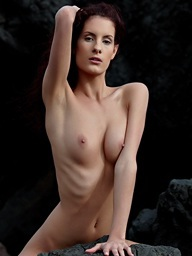 Fine bare art with Leanna posing bare at the volcanic..