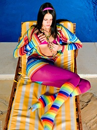 Colorful Mia undressing and toying by be passed on..