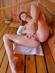 Mona Kim sauna barefeet action